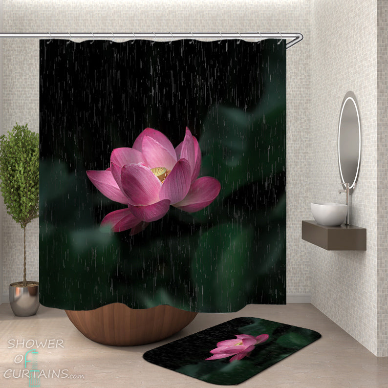 Lotus Shower Curtain - Flower Shower Curtain and Bath Mat