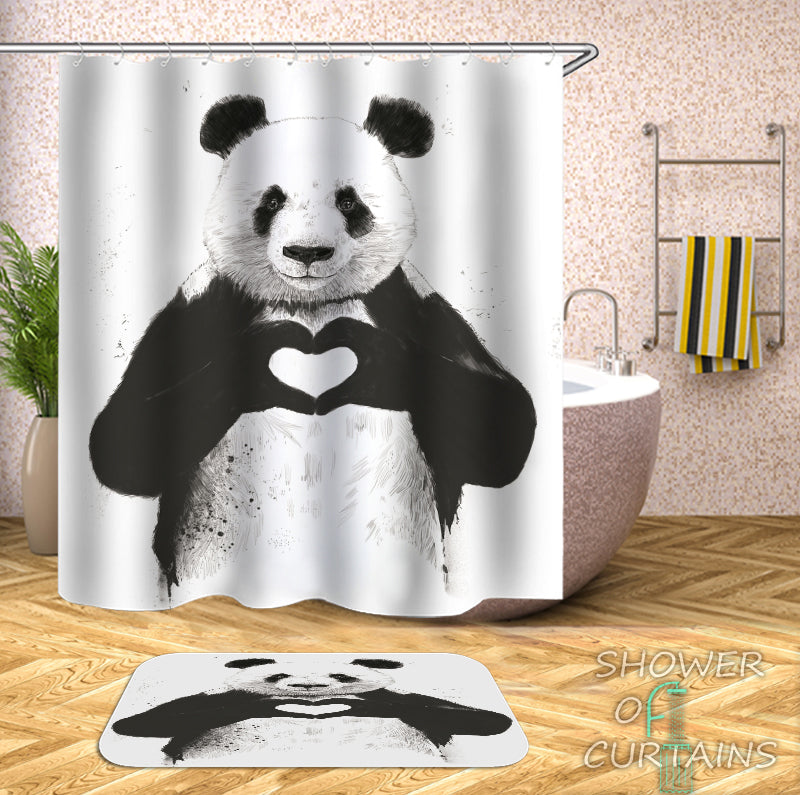Loving Panda Shower Curtain