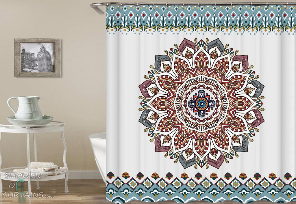Mandala Shower Curtains - Multi Colored Oriental Mandala Bsthroom Decor