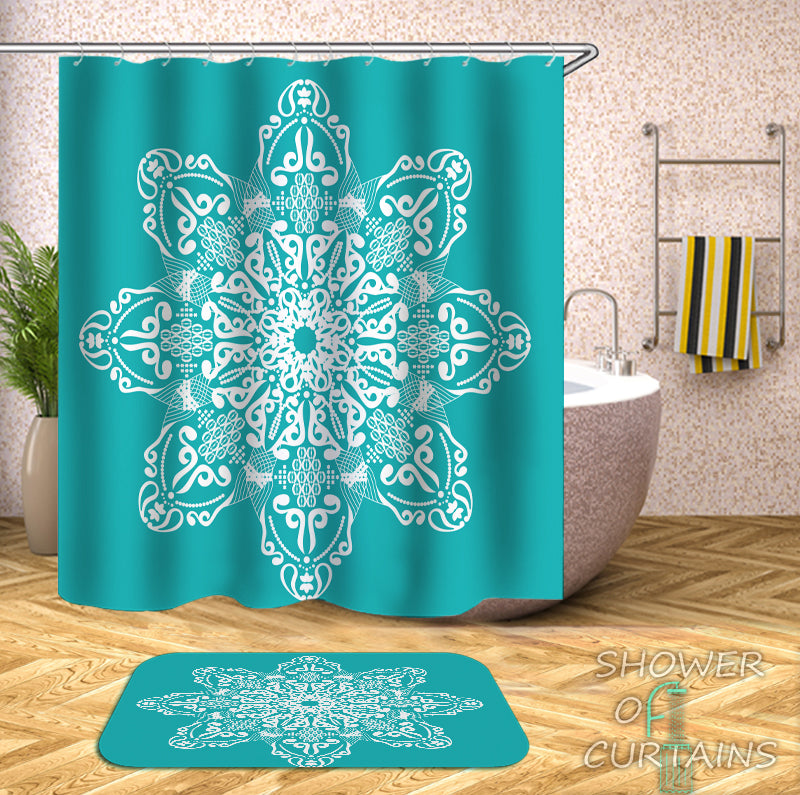 Mandala With Turquoise Shower Curtain