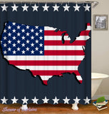 Map Embossed American Flag Shower Curtain