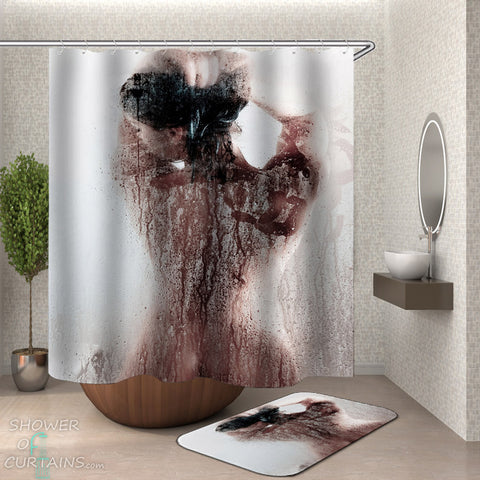 Men's Shower Curtains - Showering Girl Shower Curtain