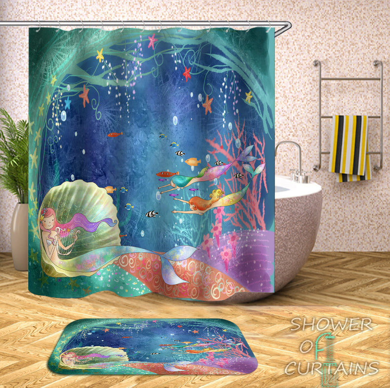 Mermaid Shower Curtain - Mermaids Under The Sea