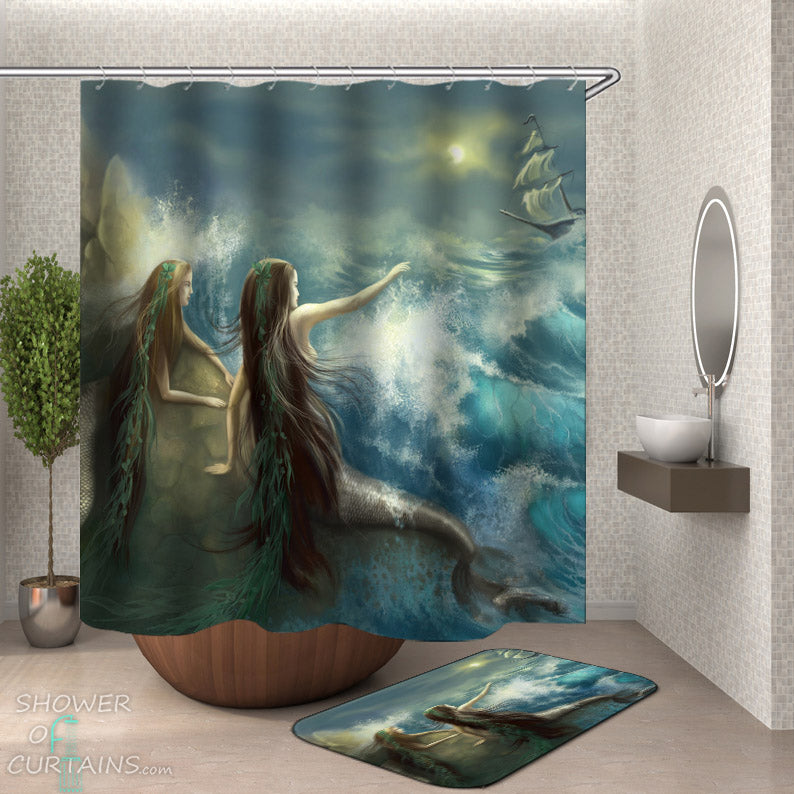 Mermaids and Ship Shower Curtain - Nautical Themed Decor