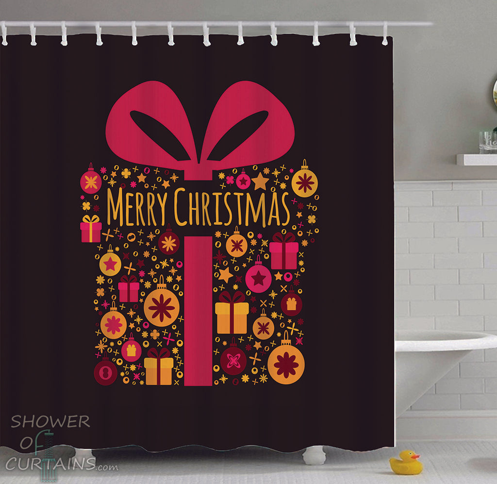 Merry Christmas Present Shower Curtains