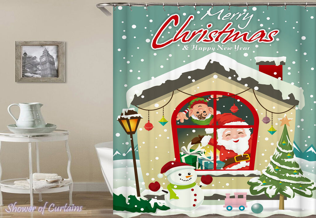 Merry Christmas Shower Curtain of Christmas House