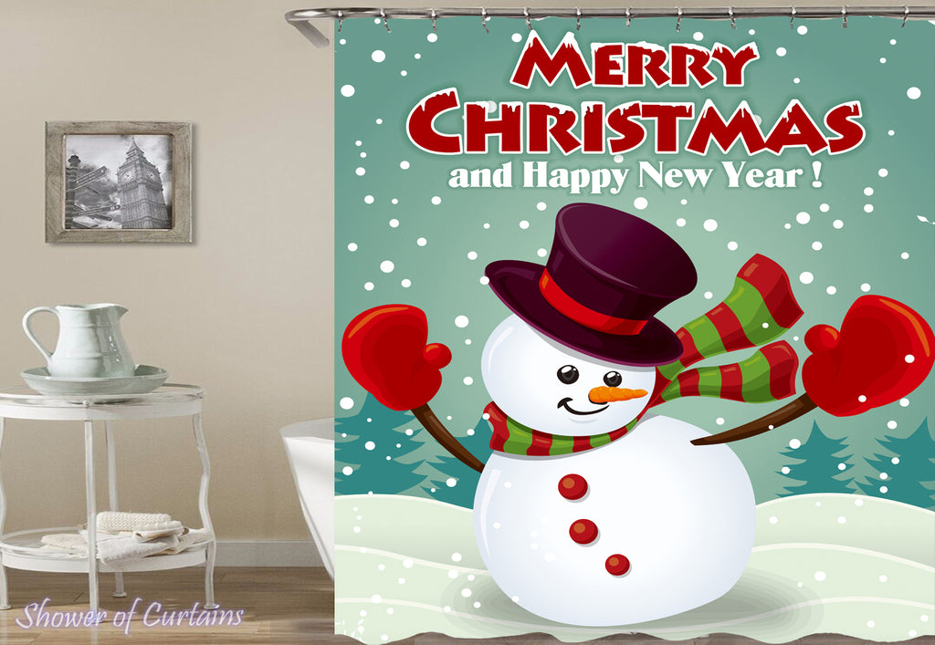 Merry Christmas Shower Curtain of Snowman Shower Curtain