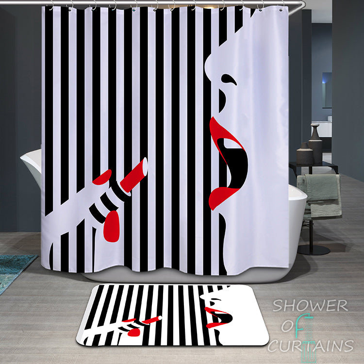 Modern Design - Wearing Red Lipstick Shower Curtain