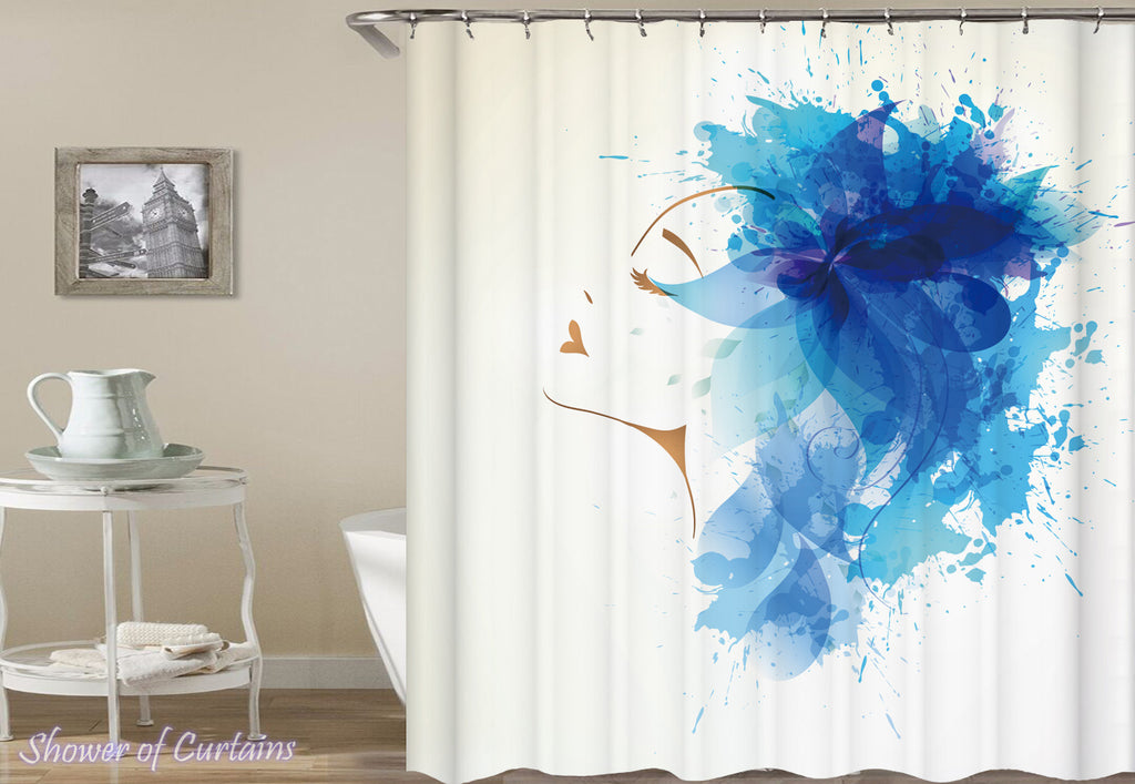 Modern shower curtains - Paint Splash Modern Lady