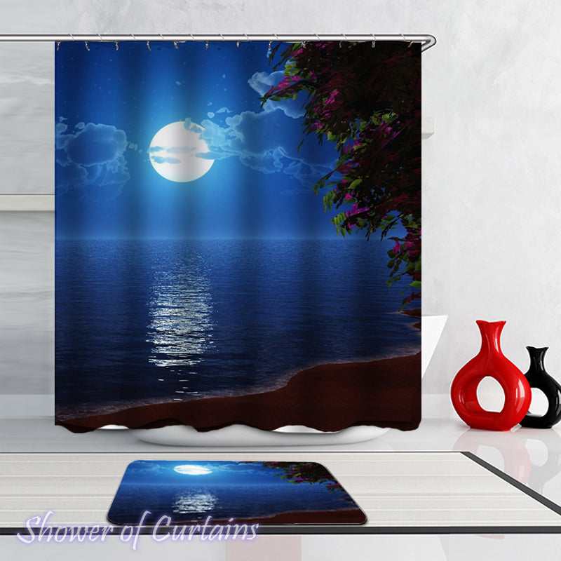 Moon Light Ocean Shower Curtains Theme