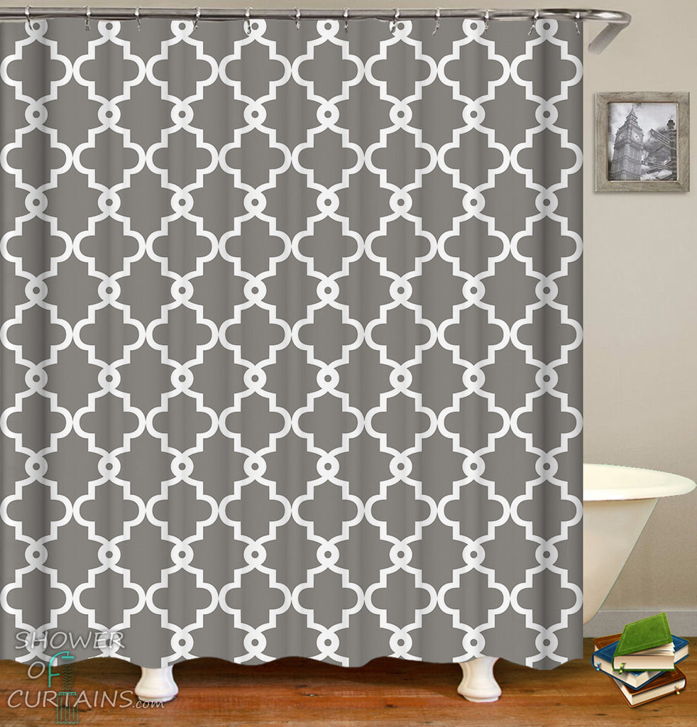 Moroccan Shower Curtains And Bath Mats - Grey and White Moroccan Pattern