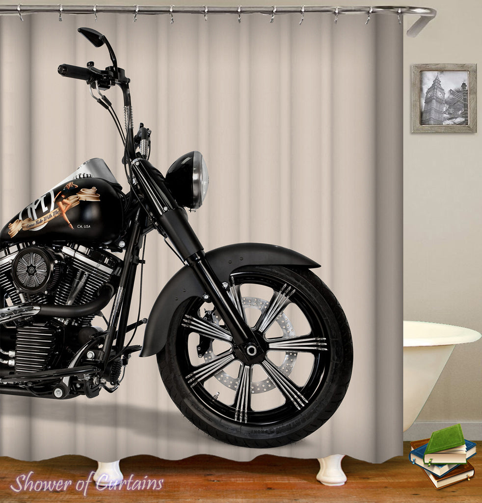 Motorcycle  Shower Curtain - Bathroom Motorcycle Ride