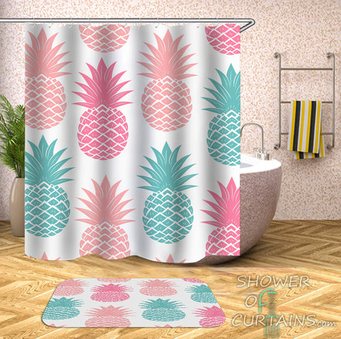 Multi-Colored Pineapple Shower Curtain