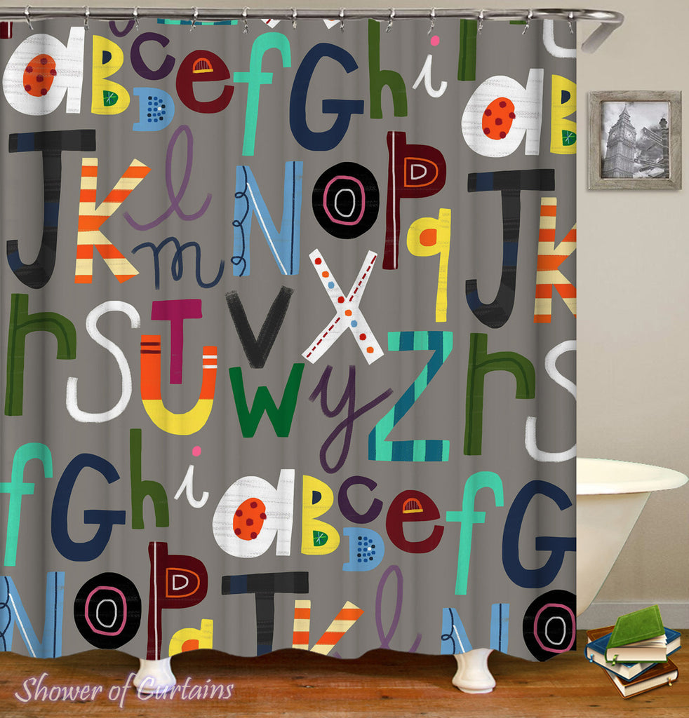 Multi Colored Alphabet Shower Curtain