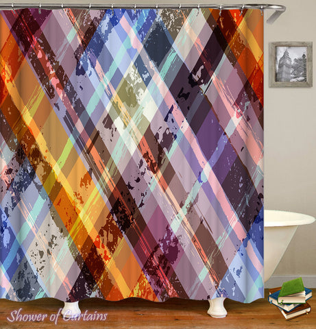 Multi Colored Checkered Shower Curtain