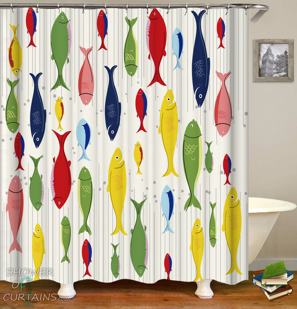 Multi Colored Fish Shower Curtain - Fisher Bathroom Decor