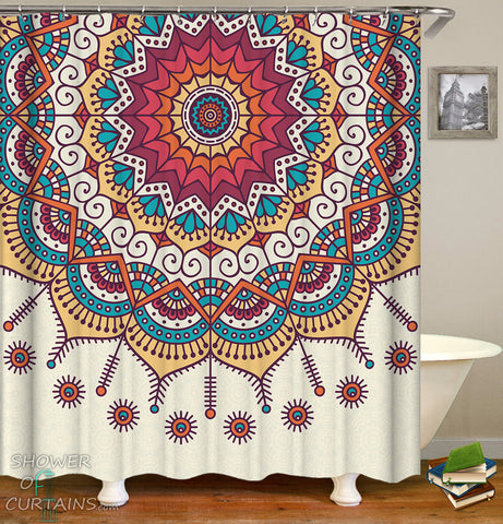Multi Colored Mandala Shower Curtain