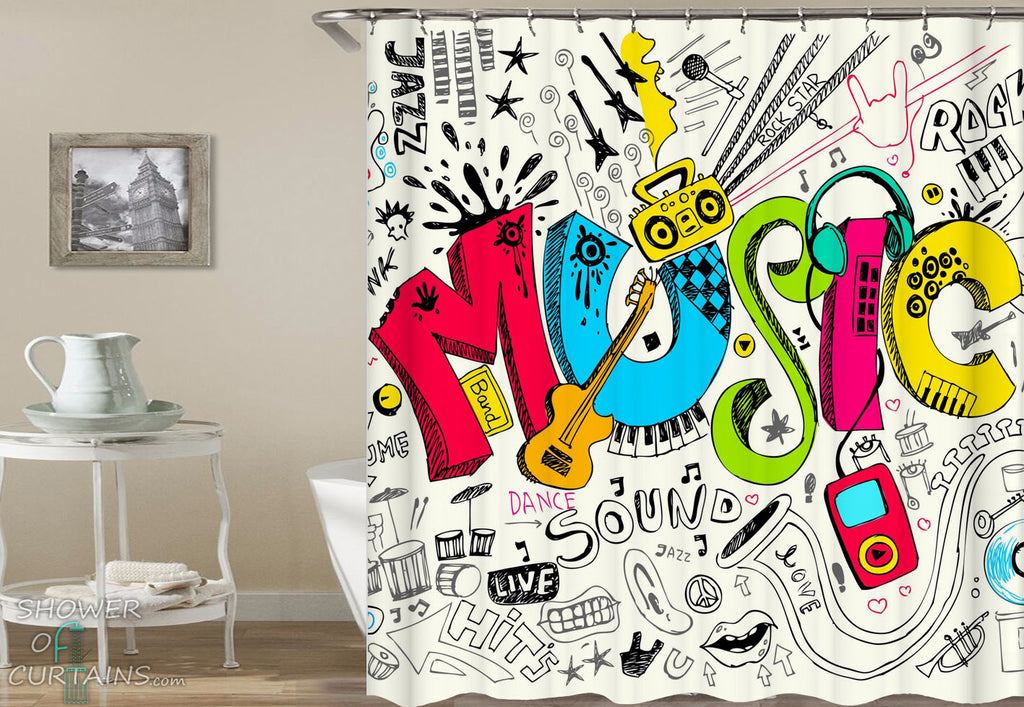 Multi Colored Music Shower Curtain