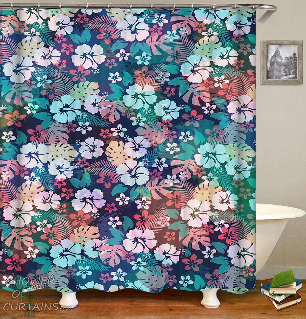 Multi Colored Tropical Flowers Shower Curtain