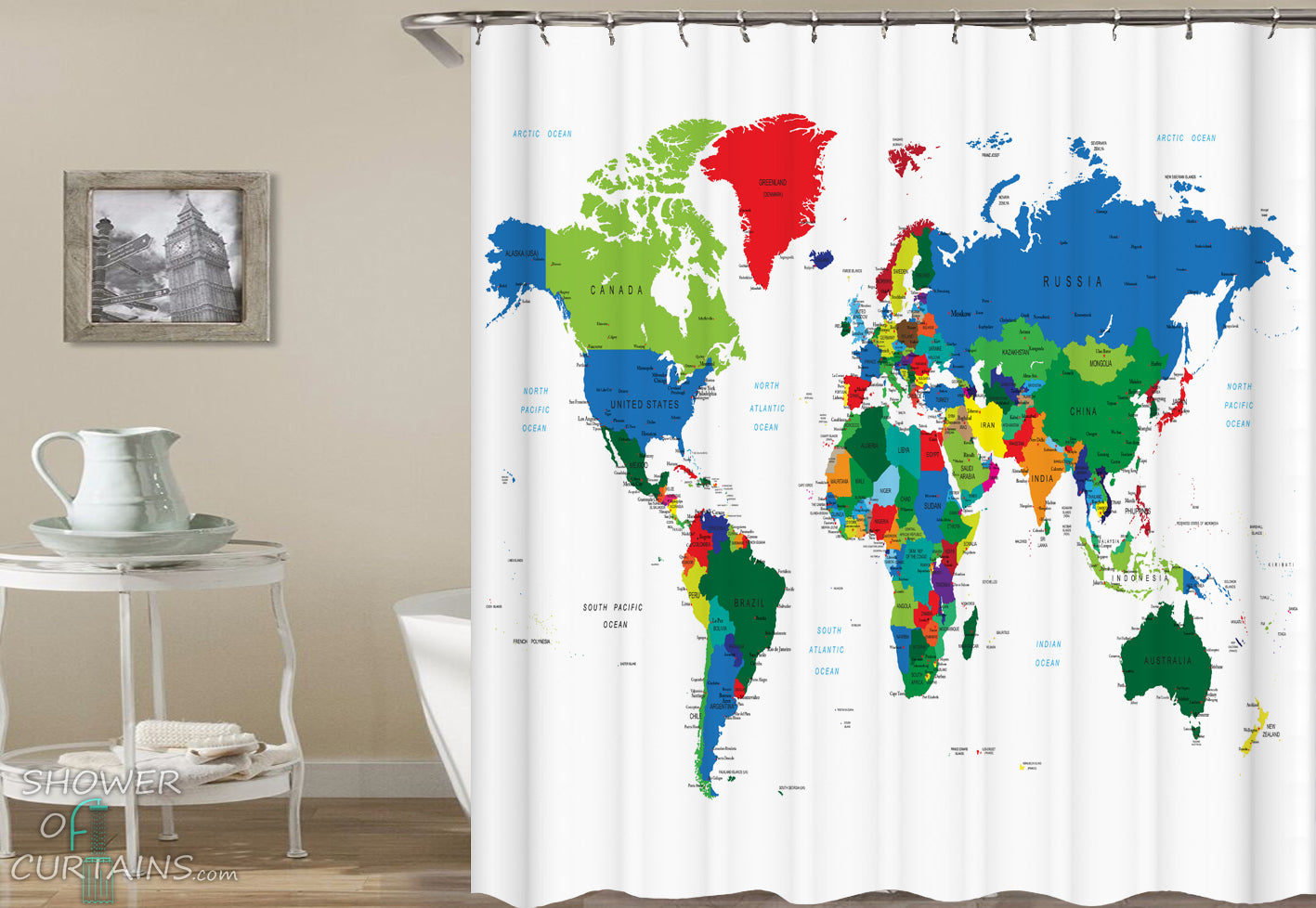 Shower curtains multi colored world map shower of curtains multi colored world map shower curtain gumiabroncs Gallery