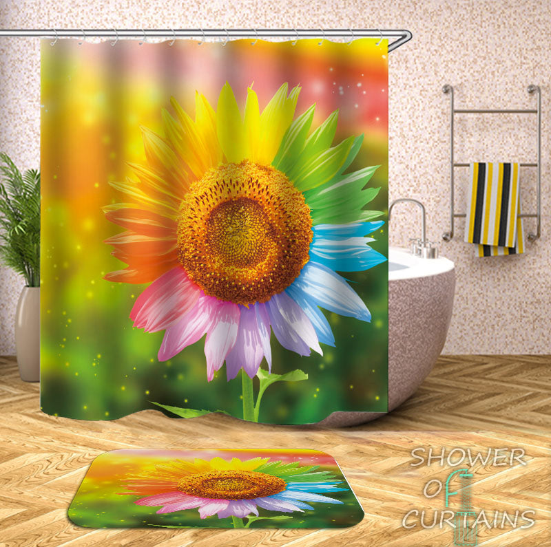 Multicolored Sunflower Shower Curtain