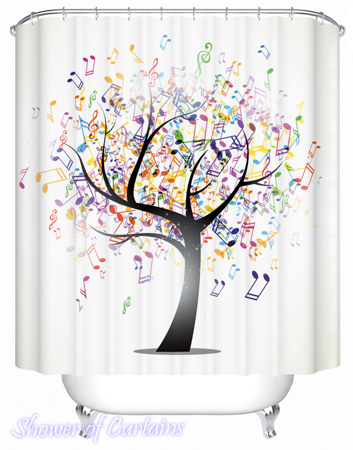 Music Notes Tree Shower Curtain
