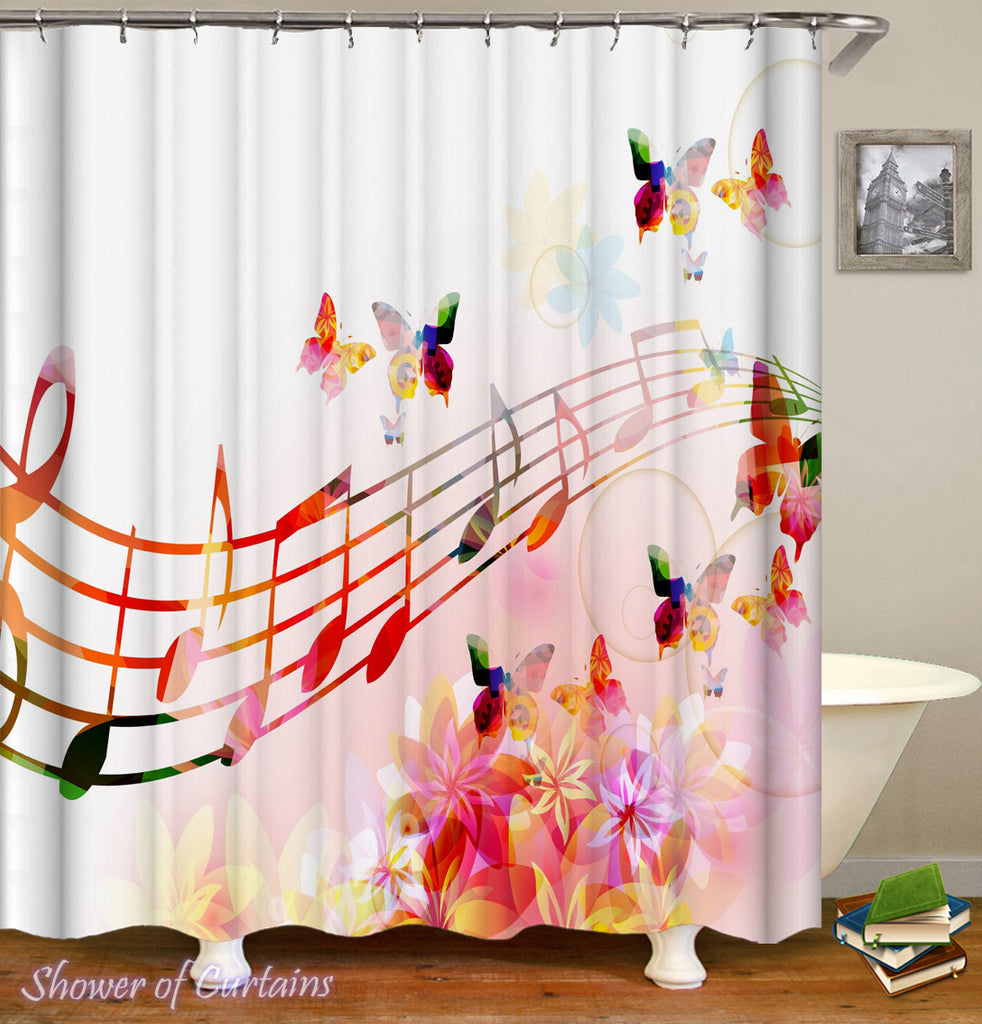 Music Shower Curtain - Colorful Musical Notes