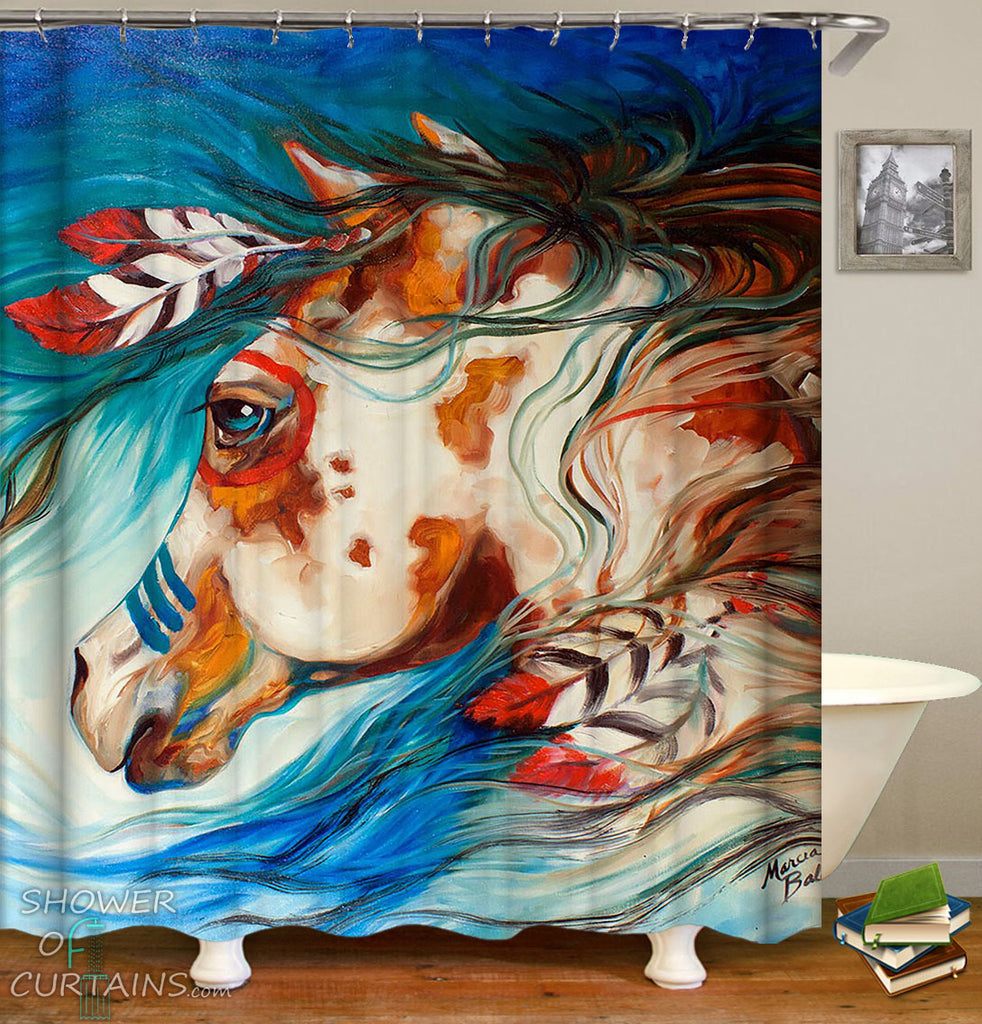 Native American Art Shower Curtain of Native Horse Painting