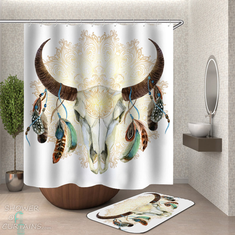 Native American Bull Skull Shower Curtain