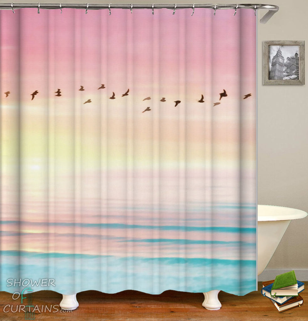 Nature Shower Curtain of Birds Over Purplish Skies And Blue Ocean