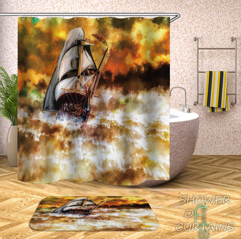 Nautical Art Shower Curtains - Stunning Sailboat Art Painting
