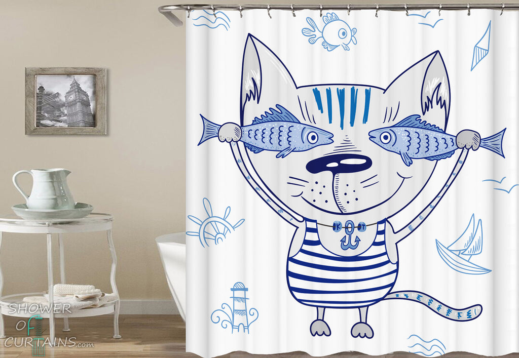 Nautical Kids Shower Curtains of Cute Sailor's Cat