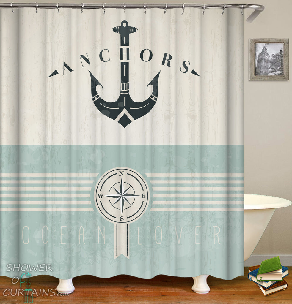 Nautical Shower Curtains - Ocean Lover Anchor