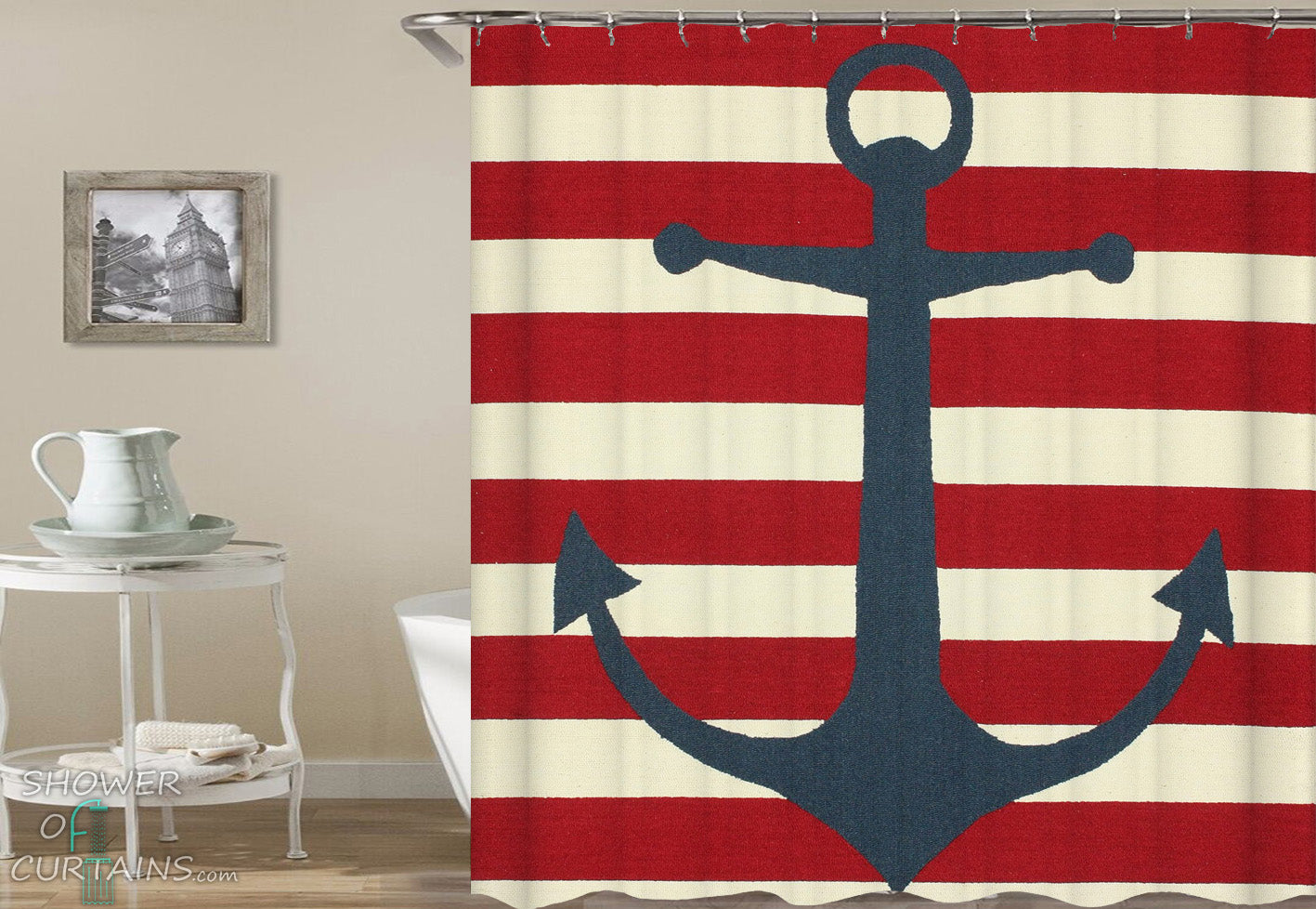Anchor Over Red Stripes