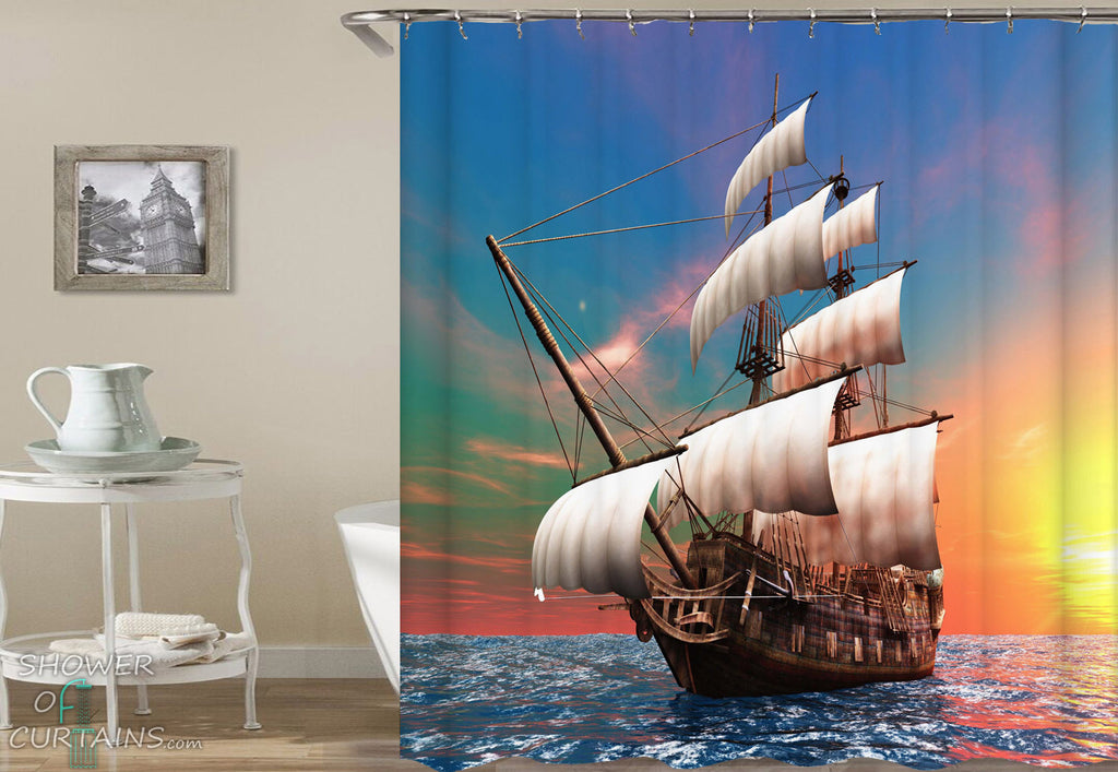 Nautical Shower Curtains of Digital Sailing Ship Shower Curtain
