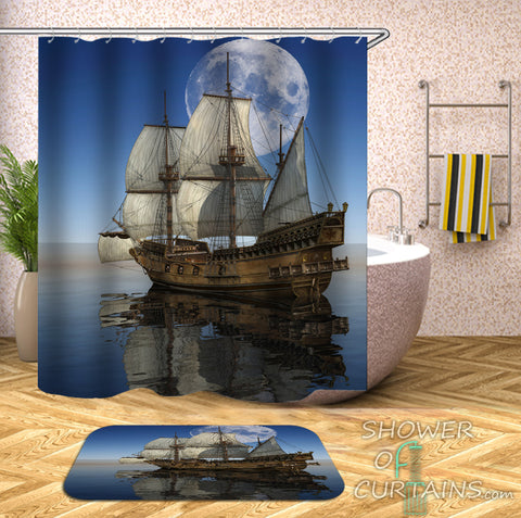Nautical Shower Curtains of Old Style Sailing Ship Shower Curtain
