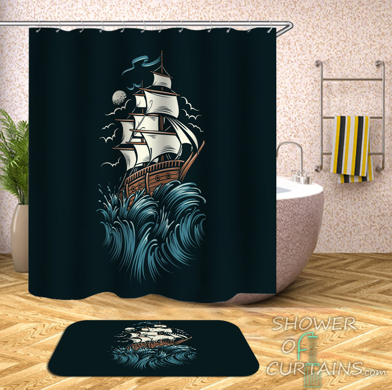 Nautical Shower Curtains of Sailing Ship Shower Curtain