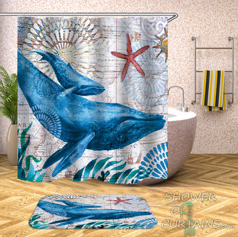 Nautical Shower Curtains of Whales Vintage Map