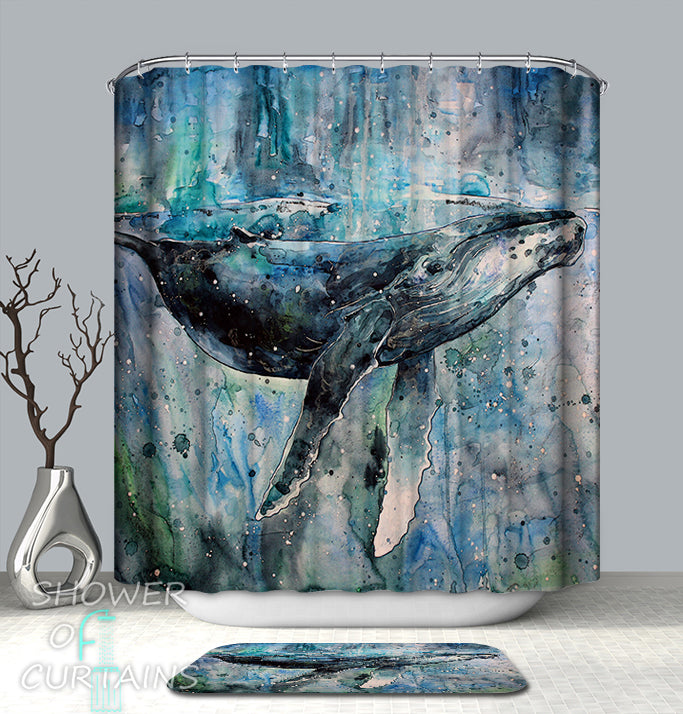 Nautical Showr Curtains Feature Art Painting Blue Whale Shower Curtain