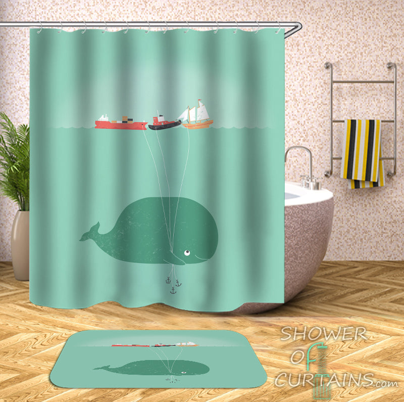 Nautical Whale Shower Curtains Design of Baby Whale's Ship Balloons