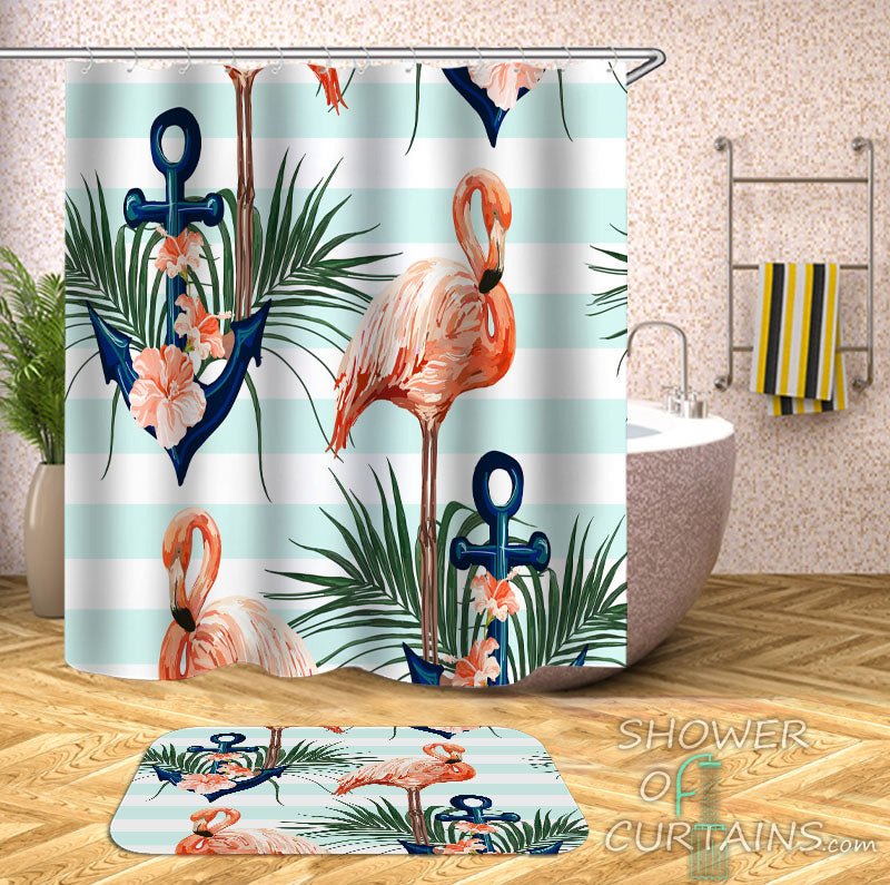 Nautical and Tropical Themed Shower Curtains features Flamingo And Anchor Shower Curtain and Bath Mat Set