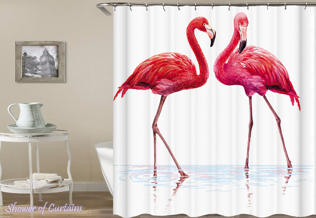 Need Two To Flamingo shower curtain