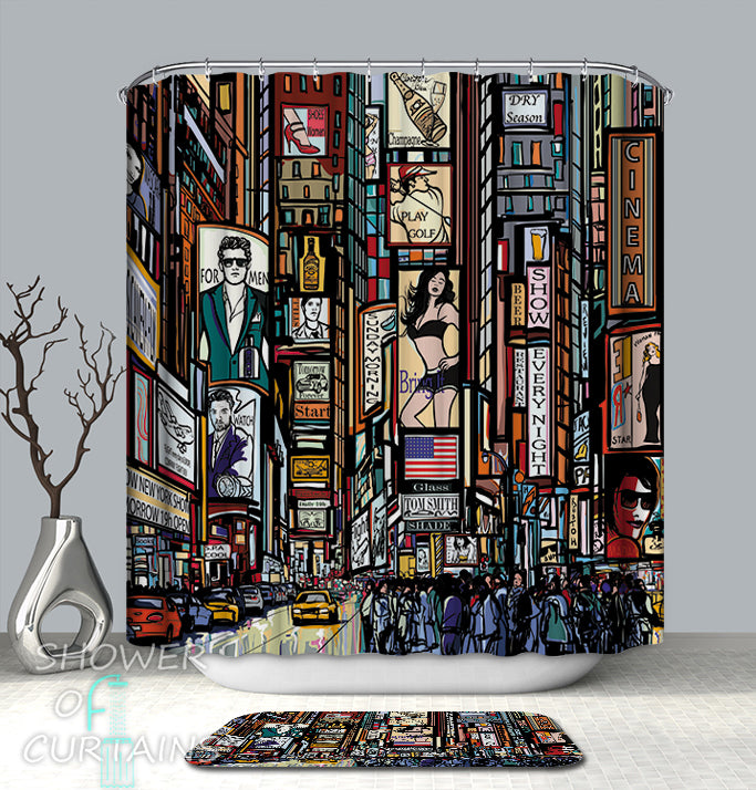 New York Shower Curtain of Times Square Comics Painting