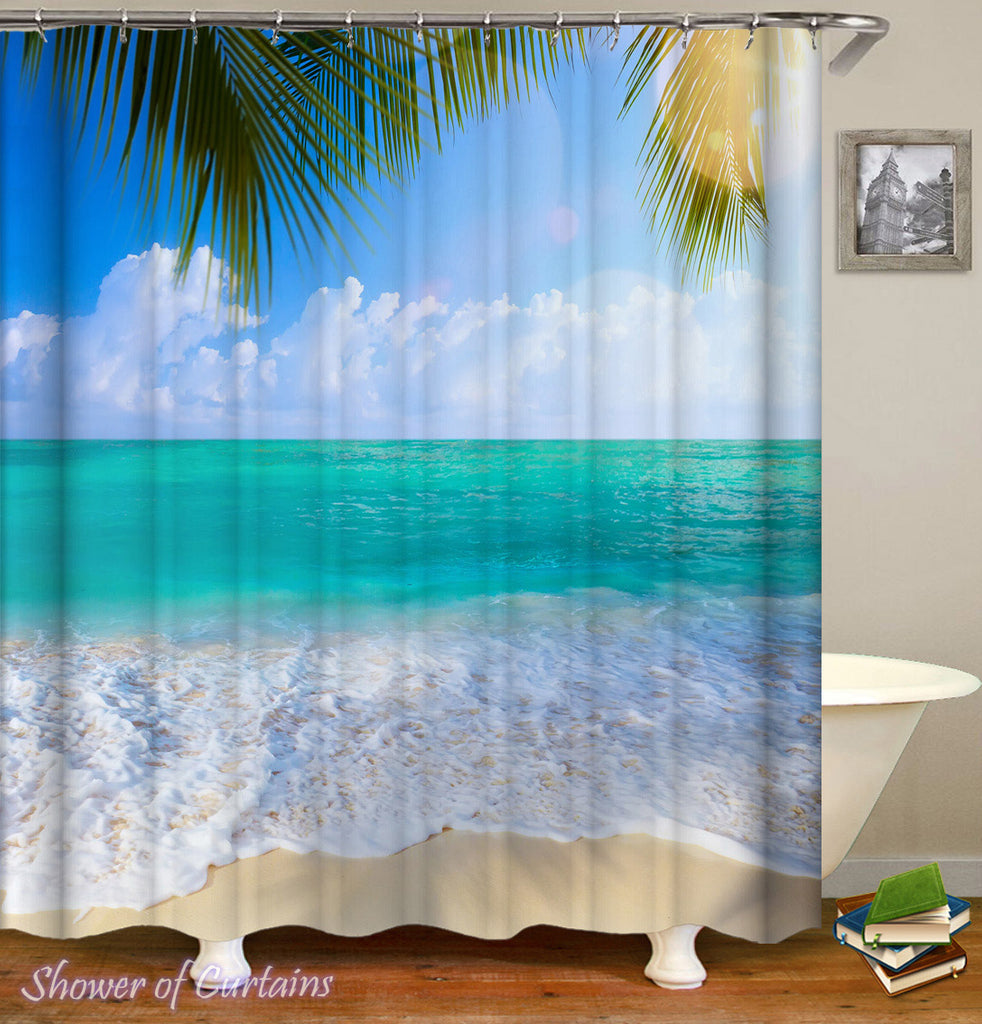 Ocean Shower Curtain - Peacefully Turquoise Beach Shower Curtain