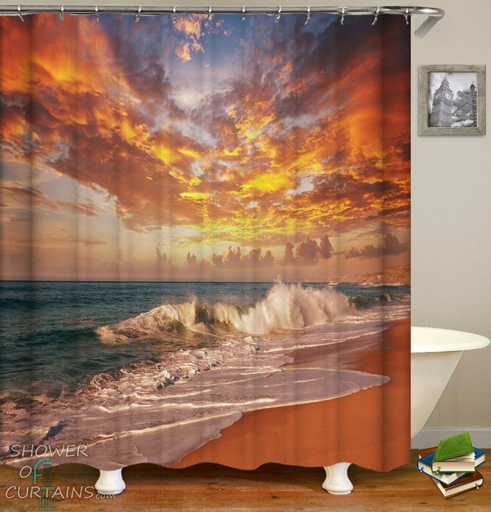 Ocean Shower Curtain - Sunset Skies Over The Ocean