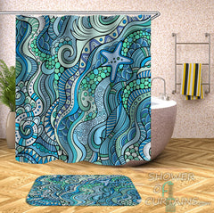 beautiful ocean colors shower curtain