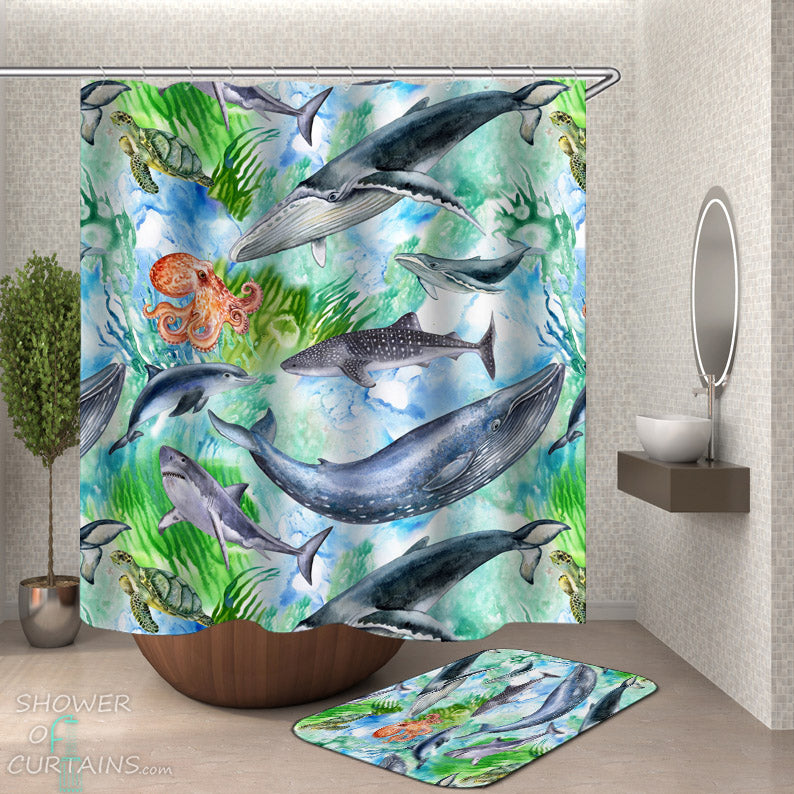 Ocean Themed Bathroom Decor - Ocean Animals Shower Curtain