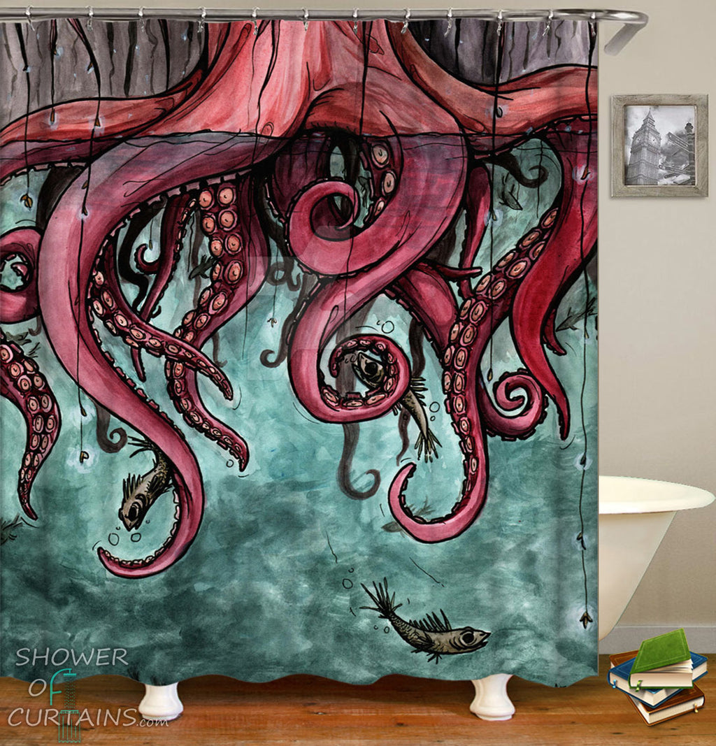 Octopus Art Shower Curtain - Octopus Arms Tree