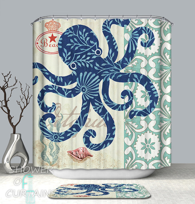Octopus Shower Curtain Design of Blue Octopus Drawing