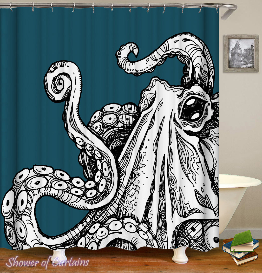 Octopus Shower Curtain Of Black White Over Turquoise
